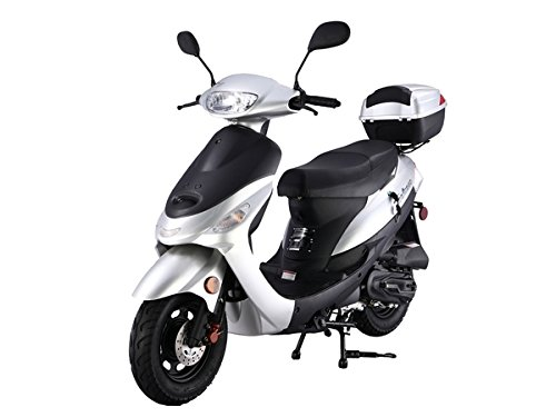 Renegade TPGS-805 SILVER 49cc Automatic 4 Stroke 30mph Moped Scooter w/ Trunk