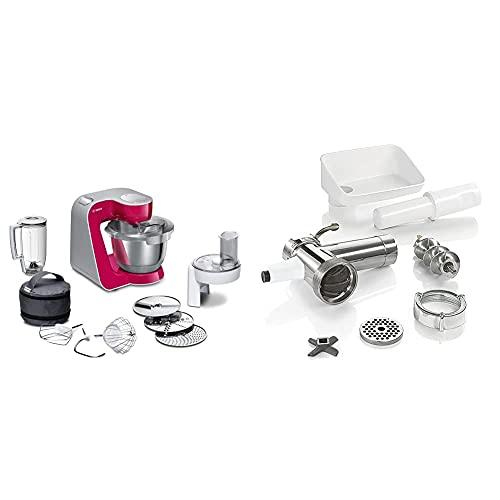 Bosch Hogar MUM58420 CreationLine Robot de cocina, 1000 W + MUZ5FW1 Accesorio para picadora de carne eléctrica, para Robot de Cocina MUM5, plástico y acero inoxidable