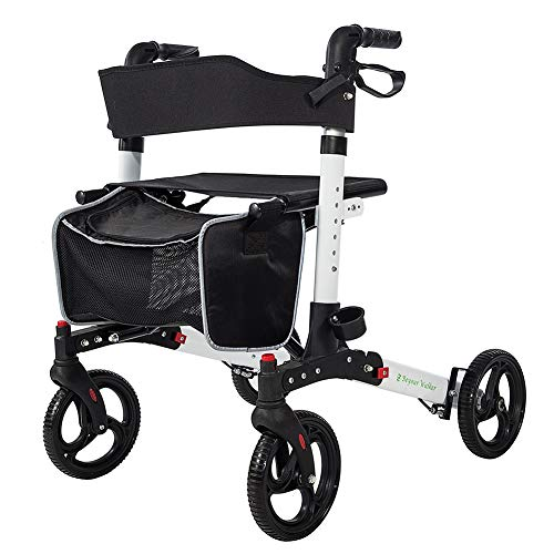 BEYOUR WALKER Folding Rollator Walker 4 Wheels Medical Rolling Walker with Seat