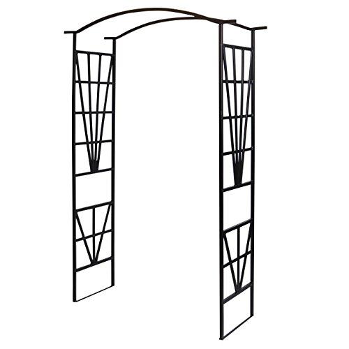 Nexos Rosenbogen Torbogen Rankhilfe Spalier Pergola Rankgitter – Metall Durchgang Fachwerk-Design – wetterfest freistehend – schwarz