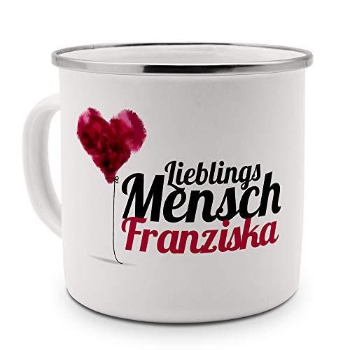 printplanet Emaille-Tasse mit Namen Franziska - Metallbecher mit Design Lieblingsmensch - Nostalgie-Becher, Camping-Tasse, Blechtasse, Farbe Silber