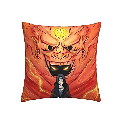 Naruto Funda almohada Accesorios de anime Sasuke Funda de cojín popular Moda moderna Anime Funda almohada linda Dormitorio Sala de estar Sofá Decoración para el hogar Regalo 18 X 18 Inches