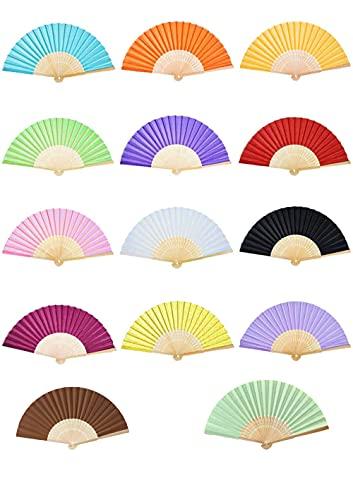 14 ventagli per le mani e gli scomparti per le mani per i tifosi dei tifosi dei ventagli di carta multicolore pieghevoli, ideali per feste, matrimoni e bomboniere