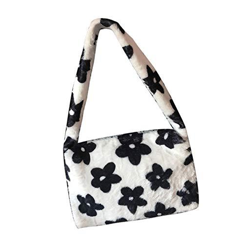 Furry Handbag, Plush Soft Casual Fluffy Female Handbag, Shoulder Tote Bag with Zip, Flower print plush handbag (1PCS)