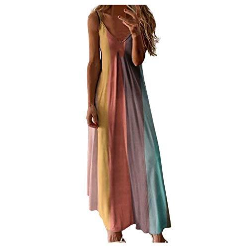 Binggong Sommerkleider Damen Lang Ärmellos Farbverlauf Strandkleid Bunte Maxikleider Elegante Boho Kleider V-Ausschnitt Abendkleid Partykleid Frauen Casual Freizeitkleid Minikleid
