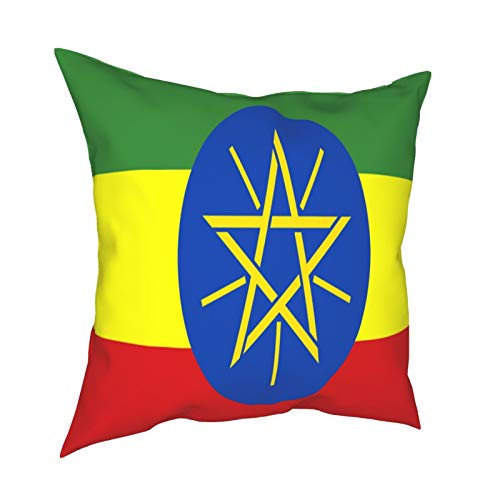 Throw Pillowcase Pillow Covers 18x18 Inch Ethiopia Flag decoration for Home Decor Office Sofa Holiday Bar Coffee Wedding Car
