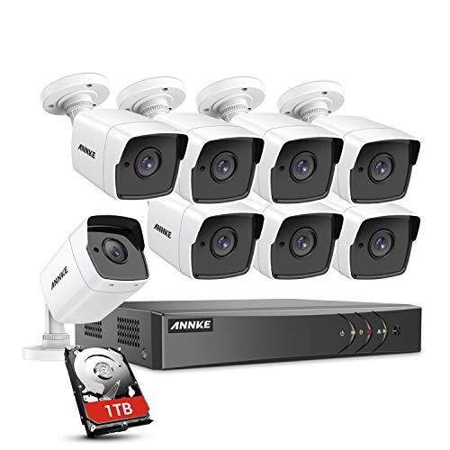 ANNKE DVR Kit Videosorveglianza Sistemi Videocamera (8CH 5MP ONVIF TVI DVR Lite + 8X 5MP Bullet Camera Esterno + 1TB Disco Rigido)
