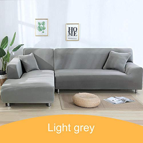 Hoes fauteuil Stretch hoes bank,Effen hoes voor hoekbank, 1 2 3 4-zits dierenhoes - 24-Light_Grey_3-seater_195-230cm