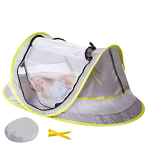 Humanity Pop Up Baby Beach Tent, Portable Kiddies Shade Pool Tent 50 SPF UV Protection Sun Shelter Canopy For Infant Indoor And Outdoor Use (Color : Gray)