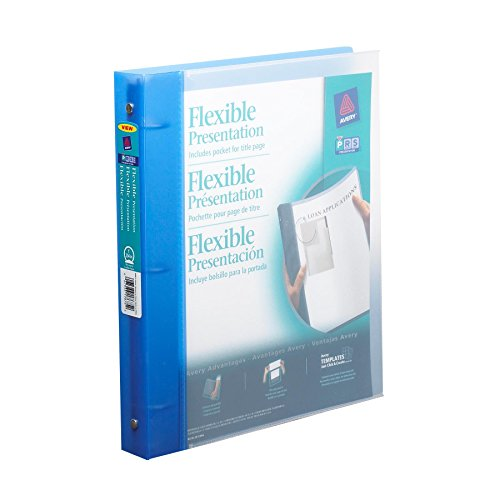 AVERY Flexible Binder with 1-Inch Round Ring, Holds 8.5 x 11 Inches Paper, (17675), Blue/White