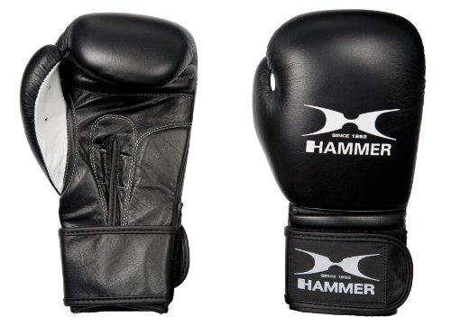Hammer Guanti Da Boxe In Pelle, Neri, 10 Oz Guanti Boxe, Nero/Nero
