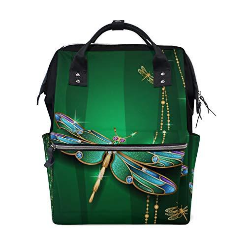 Emoya Rucksack im Doctor Style Libelle grün glitzernd Reisetasche für Damen Herren College Teenager