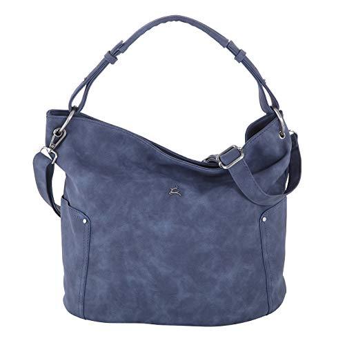 Prato Kunstleder Beuteltasche Olivia mit Schulterriemen für Damen, Alltagstasche, lässige Hobobag 38,5x29,5x19cm (denim blue)