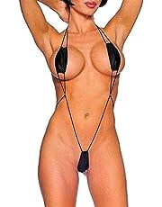 Embryform Teeny Weeny Sling Shot Micro Bikini, One-Piece Teddy Black Taglia