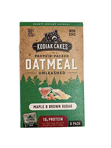 Kodiak Cakes Maple & Brown Sugar Protein-Packed Oatmeal Packets, Box of 6 Instant Oatmeal Packets, NON GMO, 12 Grams of Protein, Kosher Dairy