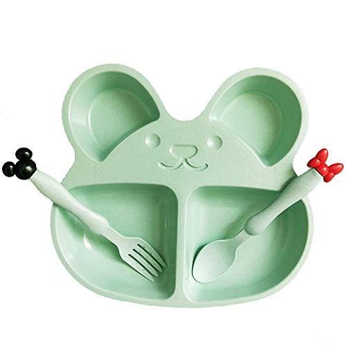 SZLGPJ Platos de Paja de Trigo bebé tazón de Entrenamiento Placa + Cuchara + Tenedor Lindo Oso niños vajilla Set OPP Embalaje Green3pcsset