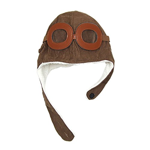 Kentop Gorro de aviador para niños con gafas, otoño e invierno, 1 unidad marrón marrón