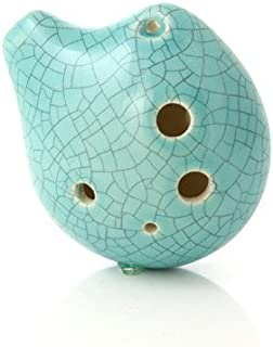 6 Hole Seedpod Pendant Ocarina – Ceramic - Jade Crackle Glaze – Alto C– Necklace Flute - Focalink - Perfect Travel Companion - Easy to Play – Free Tutorial & Songbook Included