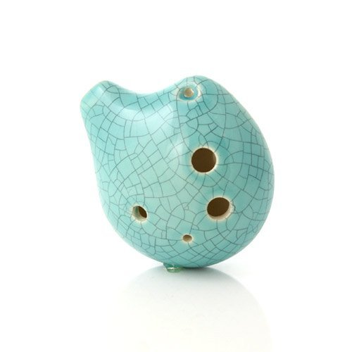 6 Hole Seedpod Pendant Ocarina – Ceramic - Jade Crackle Glaze – Alto C– Necklace Flute - Focalink - Perfect Travel Companion - Easy to Play – Free Tutorial & Songbook Included
