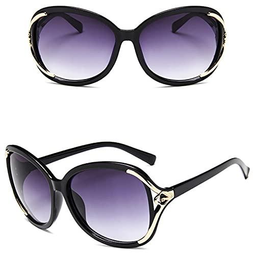 ShSnnwrl Gafas De Moda Gafas De Sol Gradiente Mujer Gafas De Sol Color Lente Señora Gafas De Sol Clásico Vintage Uv400 Negro