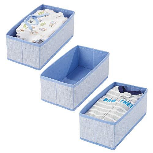 mDesign - Lade-organizer - voor kinder-/babykamers - voor ladekasten en kledingkasten - ruim/open/rechthoekig/zacht/stof - blauw visgraatpatroon - per 3 stuks verpakt