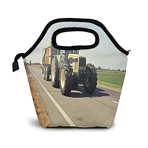 Bolsa Térmica Comida Bolsas De Almuerzo para Mujeres Hombres Niñas Niños Bolsa Isotérmica De Almuerzo Tractor amarillo en carretera asfaltada