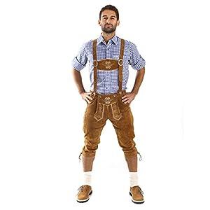 Almbock Kniebundhosen Herren Hellbraun - Bayern Lederhose mit Hosenträgern und Messertasche Lederhose - Trachtenlederhose Herren 58
