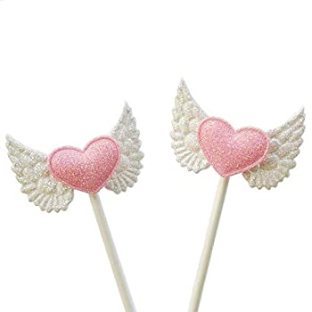 25 Pcs Angel Wings Pink Heart Cupcake Picks Birthday Cake Toppers for Baby Shower Decoration Wedding Party Supplies