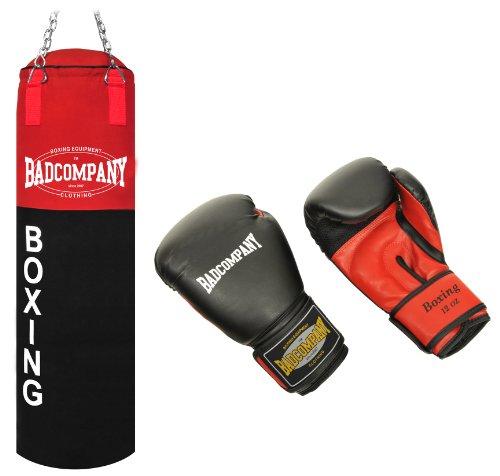 Bad Company Deluxe Box-Set inkl. Canvas Boxsack 100 x 30cm gefüllt, Vierpunkt-Stahlkette und PU Boxhandschuhe Red Dragon