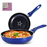 MASTERTOP Nonstick Frying Pan Set - 2 Piece 8 Inch Open Skillet 10.4 Inch Cooking Pan, PFOA-Free Non Sticking Pot, Dishwasher Safe Fry Pan with 1 Pcs Cleaning Cloth, Blue
