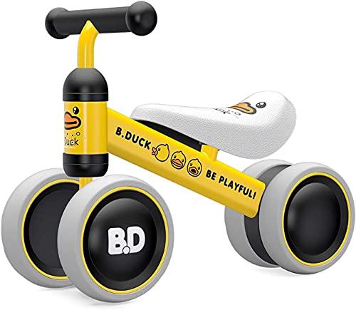 YGJT Kinder Laufrad ab 1 Jahr | Fahrrad Spielzeug für 10-24 Monate Junglen und Mädchen | Rutschrad Baby Geschenk für Ersten Geburtstag Neu Jahr (Gelb Ente 3)