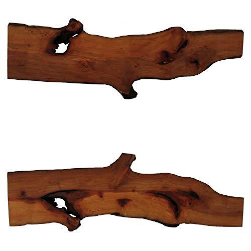 Tisch-Dekoauflage aus Birnbaumholz (Maße in cm, ca.: L x B x H = 90,6 x 11,6 bis 24,4 x 2,3) (Artikel-Nr: H-1-18)