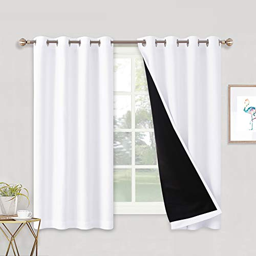 RYB HOME White Curtains - 2 Layers Liner Full Blackout Grommet Curtains for Bedroom Window 100% Room Darkening Soundproof Panels for Living Room, Wide 52 x Long 63, Pure White, 2 Pcs