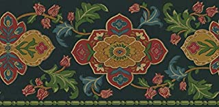 Waverly Sonoma Valley Collection Wall Border 5509413 Black Arts and Crafts Wallpaper Mission Stylized Floral Motif Trailing Vine Jewel Tones on Black Home Decor