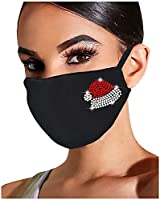 Lomelomme Glänzend Strass Mund Nasenschutz, Damen Waschbar Mundschutz mit Motiv Baumwolle Glitzer Wiederverwendbar...