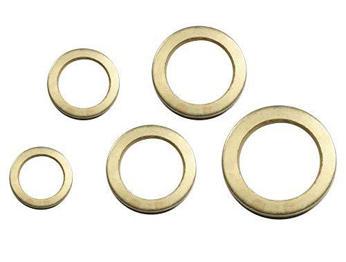 100 Stück Fitschenring- Sortiment Ø 9/10 / 11/12 / 13 mm Stahl vermessingt Unterlegscheibe Türscharnier Fitschenringe- 100 Tlg.Set