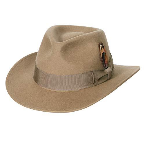 Sombrero de Vaquero para Hombre, Fieltro de Lana, Western Outback Gambler, ala Ancha, tamaos Ajustables, Ribete de Grosgrain de Camello Ligero aplastable XL