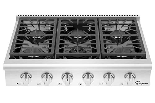 Empava 36 in. Slide-in Natural Gas Rangetop with 6 Deep Recessed Sealed Ultra High-Low Burners-Heavy Duty Continuous Grates in Stainless Steel