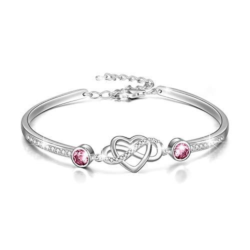 Infinity Armband Sterling Silber Damen Liebes Unendlichkeitszeichen Armreif Armband, Geburtstag Freundschaft Hochzeitstag Geschenke für Freundin Mutter (Rosa)