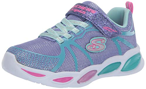 Skechers Shimmer Beams Sporty Glow Girls Youth Sports Trainers Periwinkle Sparkle 30 EU