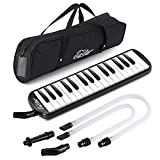 Eastar 32 Keys Melodica Instrument, Soprano Melodica Air Piano Keyboard Pianica with 2 Soft Long Tubes, Short Mouthpieces, Carrying Bag, Black