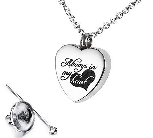 DEESOSPRO® Conmemorativo de Acero Inoxidable Colgante de Corazón Clásico Cenizas de Urna de Cremación Collar de Recuerdo Joyas con Kit de Relleno, Corazón