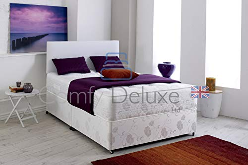 Hilton Divan Bed Set with Quilted Orthopedic Mattress and Leather Headboard (4FT6 - O Drawers)