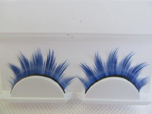 1 paire qualité en boîte bleu violet ou brun/blonde dramatique épais faux imitation extensions eyelashes pour déguisement, soirée - by fat-catz-copy-catz - A-2 Bleu cils, one size