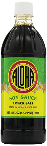 Aloha Shoyu Soy Sauce Lower Salt, 24 Fl Oz (Pack of 12)