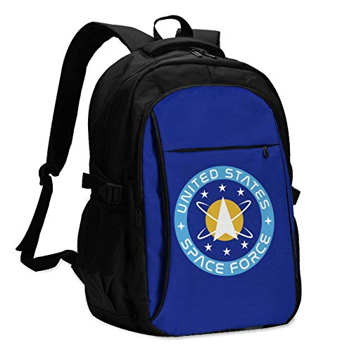 United States Space Force USSF Man's Woman's Durable Women & Men Backpack with USB Charging Interface Casual School Shoulder Bag