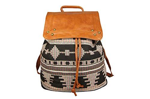 Sunny Times Rucksack Damen Groß, Cityrucksack Daypack für Frauen und Mädchen zum Wandern, für Ausflüge, Ethno Indianer Festival Rucksack, (Farbe D)