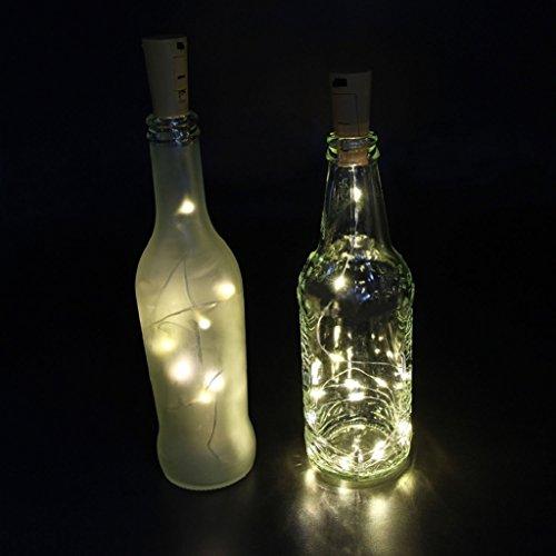 AAA226 Guirlande lumineuse à 15/20 LED pour bouteille de vin avec bouchon en liège Argenté 2 m (Blanc)