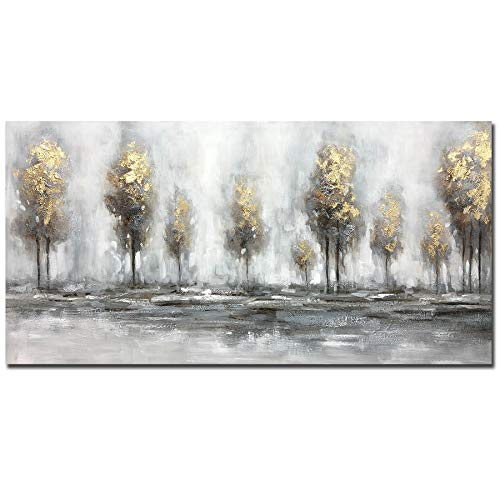 Boieesen Art,24x48Inch Handmade Oil Painting Grey Gold Absract Forest Landscape Artwork Nature Scenery Canvas Wall Art Golden Trees Paintings Home Decoration Stretched and Framed Ready to Hang