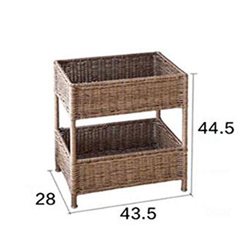 NAN Rangement de rangement en rotin Plastique Couleur en bois Noir 2 couches 3 couches Chambre de placement (taille : A)